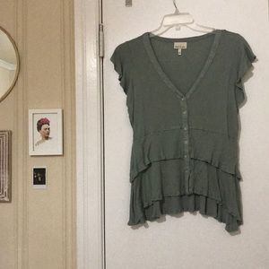 Green Ruffled Top with Buttons V Neck Size XL